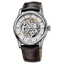 Buy Oris 73476704051LS Men's Artelier Skeleton Dial Automatic Leather Strap Watch, Brown Online at johnlewis.com