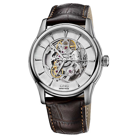 Buy Oris 73476704051LS Men's Artelier Skeleton Dial Automatic Leather Strap Watch, Brown/Silver Online at johnlewis.com
