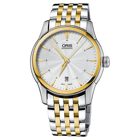 Buy Oris 01 733 7670 4351-07 8 21 78 Men's Artelier Automatic Two Tone Bracelet Strap Watch, Silver/Gold Online at johnlewis.com