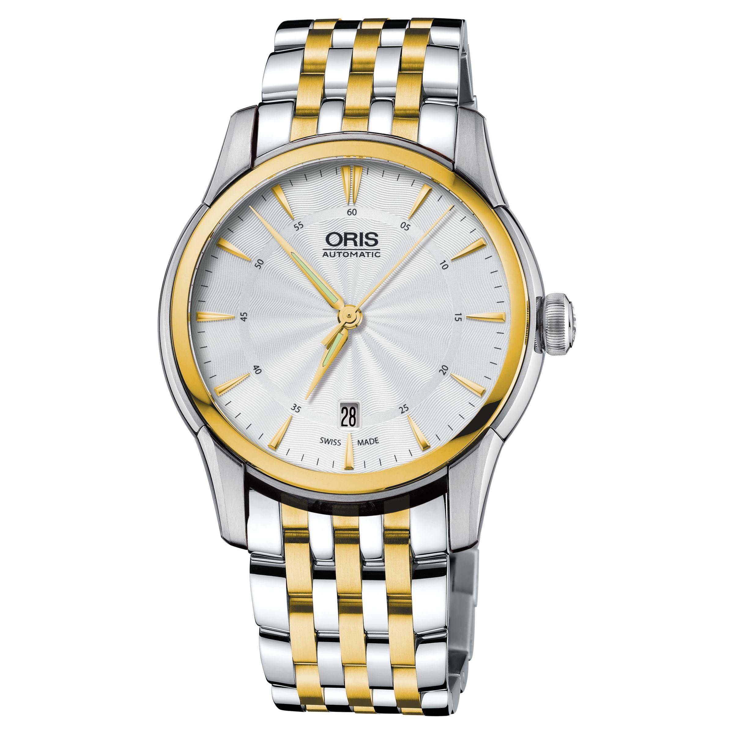 Oris Oris 01 733 7670 4351-07 8 21 78 Men's Artelier Automatic Two Tone Bracelet Strap Watch, Silver/Gold