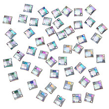 Buy John Lewis DIY Square Sew-on Gems, 8mm, Pack of 50, Clear Online at johnlewis.com