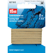 Buy Prym Imitation Leather Lacing Tape, 2m, Beige Online at johnlewis.com