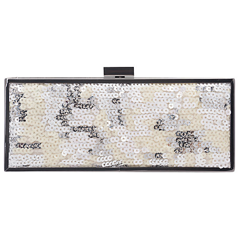 Buy French Connection Abby Sequin Box Clutch Bag, White Multi Online at johnlewis.com