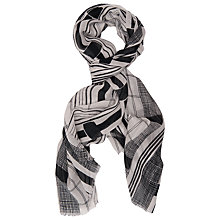 Buy French Connection Lottie Monochrome Scarf, White Online at johnlewis.com