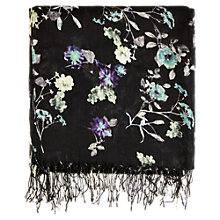 Buy Warehouse Multi Floral Print Scarf, Black Online at johnlewis.com