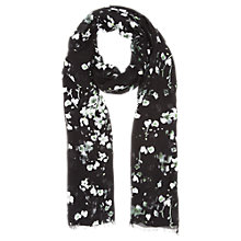 Buy Jigsaw Falling Fresia Scarf, Black Online at johnlewis.com