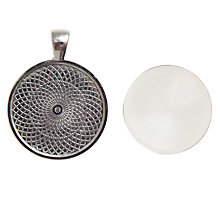 Buy John Lewis Round Cabochon Photo Pendant, Silver Online at johnlewis.com