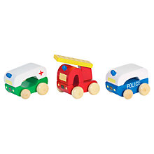 Buy Orange Tree Wooden Emergency Vehicles, Pack of 3 Online at johnlewis.com
