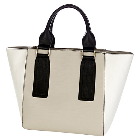 Buy Warehouse Colour Block Wide Base Handbag, Beige Online at johnlewis.com