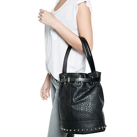 Buy Mango Studded Bucket Bag, Black Online at johnlewis.com