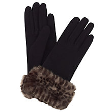 Buy John Lewis Faux Fur Trim Gloves, Multi Online at johnlewis.com