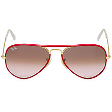 Buy Ray-Ban RB3025JM 001/X3 New Aviator Full Colour Metal Frame Sunglasses, Red Online at johnlewis.com