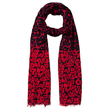 Buy John Lewis Reverse Floral Print Scarf, Navy / Red Online at johnlewis.com