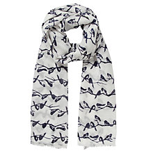 Buy John Lewis Birdie Branch Print Scarf, Cream Online at johnlewis.com