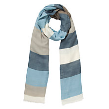 Buy Kin by John Lewis Stripe Scarf, Blue Online at johnlewis.com
