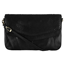 Buy Oasis Sassi Snake Leather Clutch, Black Online at johnlewis.com