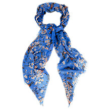 Buy Oasis Blossom Bird Scarf, Rich Blue Online at johnlewis.com