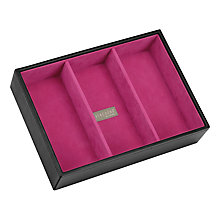 Buy Stackers Jewellery Box, 3 Sections, Black/ Fuschia Online at johnlewis.com