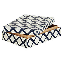 Buy John Lewis White Bone Box, White/ Navy Online at johnlewis.com