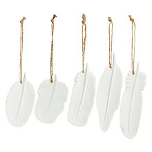 Buy John Lewis Feather Ceramic Hanging Decoration, Assorted Online at johnlewis.com