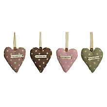 Buy Polka Dot Fabric Hearts, Set of 4, Assorted Online at johnlewis.com