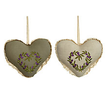 Buy Fabric Heart Hanging Decoration, Olive, Assorted Online at johnlewis.com