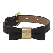 Buy Mulberry Leather Bow Bracelet, Black Online at johnlewis.com