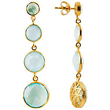 Buy Auren 22ct Gold Vermeil Four Drop Aqua Chalcedony Briolette Earrings Online at johnlewis.com
