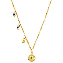Buy Auren 22ct Gold Vermeil Graduating Sapphire Drop Disc Necklace Online at johnlewis.com