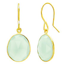 Buy Auren 22ct Gold Vermeil Rose Cut Gemstone Drop Earrings, Aqua Chalcedony Online at johnlewis.com