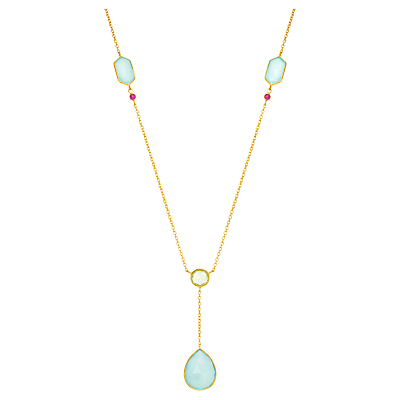 Auren 18ct Gold Vermeil Geo Rose Cut Drop Lemon Topaz and Ruby Pendant Necklace, Gold