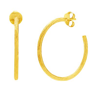 Auren 18ct Gold Vermeil Branch Textured Hoop Earrings, Gold