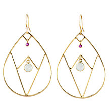 Buy Auren 22ct Gold Vermeil Aqua Chalcedony and Ruby A-Frame Earrings Online at johnlewis.com