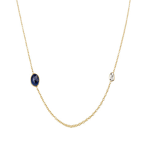 Buy Auren 22ct Gold Vermeil Sapphire and Diamond Slice Necklace Online at johnlewis.com