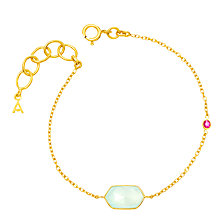 Buy Auren 18ct Gold Vermeil Rose Cut Bracelet, Aqua Chalcedony/Ruby Online at johnlewis.com