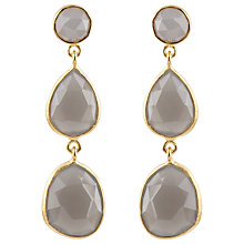 Buy Auren 22ct Gold Vermeil Triple Gemstone Drop Earrings Online at johnlewis.com