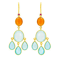 Buy Auren 22ct Gold Vermeil Tribal Mixed Gemstone Drop Earrings, Ruby / Carnelian / Aqua and Blue Chalcedony Online at johnlewis.com