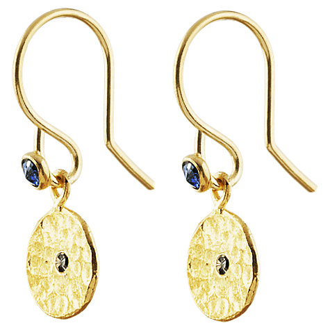 Buy Auren 22ct Gold Vermeil Diamond and Sapphire Hook Earrings Online at johnlewis.com