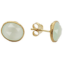 Buy Auren 22ct Gold Vermeil Organic Stud Earrings, Aqua Chalcedony Online at johnlewis.com