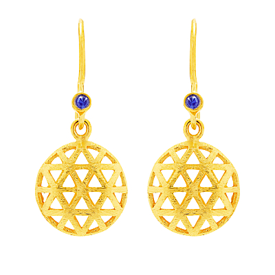 Auren 18ct Gold Plated Small Triangle Sapphire Drop Earrings, Gold