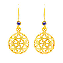 Buy Auren 18ct Gold Plated Small Triangle Sapphire Drop Earrings, Gold Online at johnlewis.com