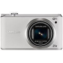 "Buy Samsung WB350F Camera, HD 1080p, 21x Optical Zoom, 16.3MP, Wi-Fi, NFC, 3"" Touch Screen, White with Memory Card Online at johnlewis.com"