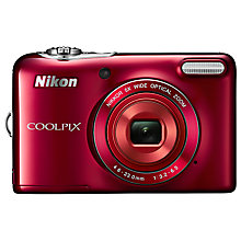 "Buy Nikon Coolpix L30 Digital Camera, HD 720p, 20.1MP, 5x Optical Zoom, 3"" LCD Screen, Red with 16GB + 8GB Memory Card Online at johnlewis.com"