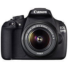 "Buy Canon EOS 1200D Digital SLR Camera with 18-55mm IS Lens, HD 1080p, 18MP, 3"" Touch Screen with Memory Card Online at johnlewis.com"