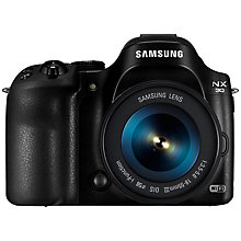 "Buy Samsung NX30 Compact System Camera with 18-55mm Lens, HD 1080p, 20.3MP, Wi-Fi, NFC, EVF 3"" AMOLED Touch Screen, Black with Half Price Camera Case Online at johnlewis.com"