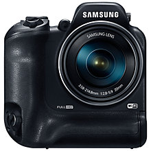 "Buy Samsung WB2200F Bridge Camera, HD 1080p, 16.4MP, 60x Optical Zoom, Wi-Fi, NFC, 3"" LCD Screen with 16GB + 8GB Memory Card Online at johnlewis.com"