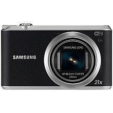 "Buy Samsung WB350F Camera, HD 1080p, 21x Optical Zoom, 16.3MP, Wi-Fi, NFC, 3"" Touch Screen, Black with 16GB + 8GB Memory Card Online at johnlewis.com"