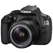 "Buy Canon EOS 1200D Digital SLR Camera with 18-55mm Lens, HD 1080p, 18MP, 3"" LCD Screen with Gadget Bag Online at johnlewis.com"