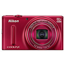"Buy Nikon Coolpix S9600 Digital Camera, HD 1080p, 16MP, 22x Optical Zoom, 3"" Screen, Red with Memory Card Online at johnlewis.com"