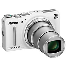 "Buy Nikon Coolpix S9700 Digital Camera, HD 1080p, 16MP, 30x Optical Zoom, GPS, Wi-Fi, 3"" OLED Screen, White with Memory Card Online at johnlewis.com"